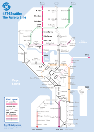 Map of Seattle Subway's proposed rapid transit lines