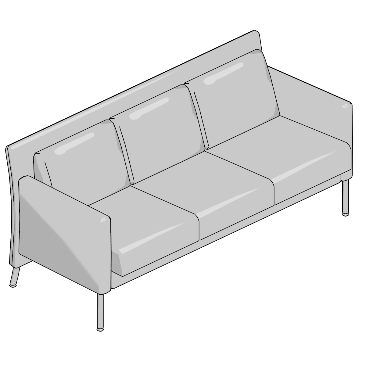 Faszinierend Switch Sofa Dekoration Von Switch;sofa-3 Seat,matte Chrm Legs,ctrst Fab