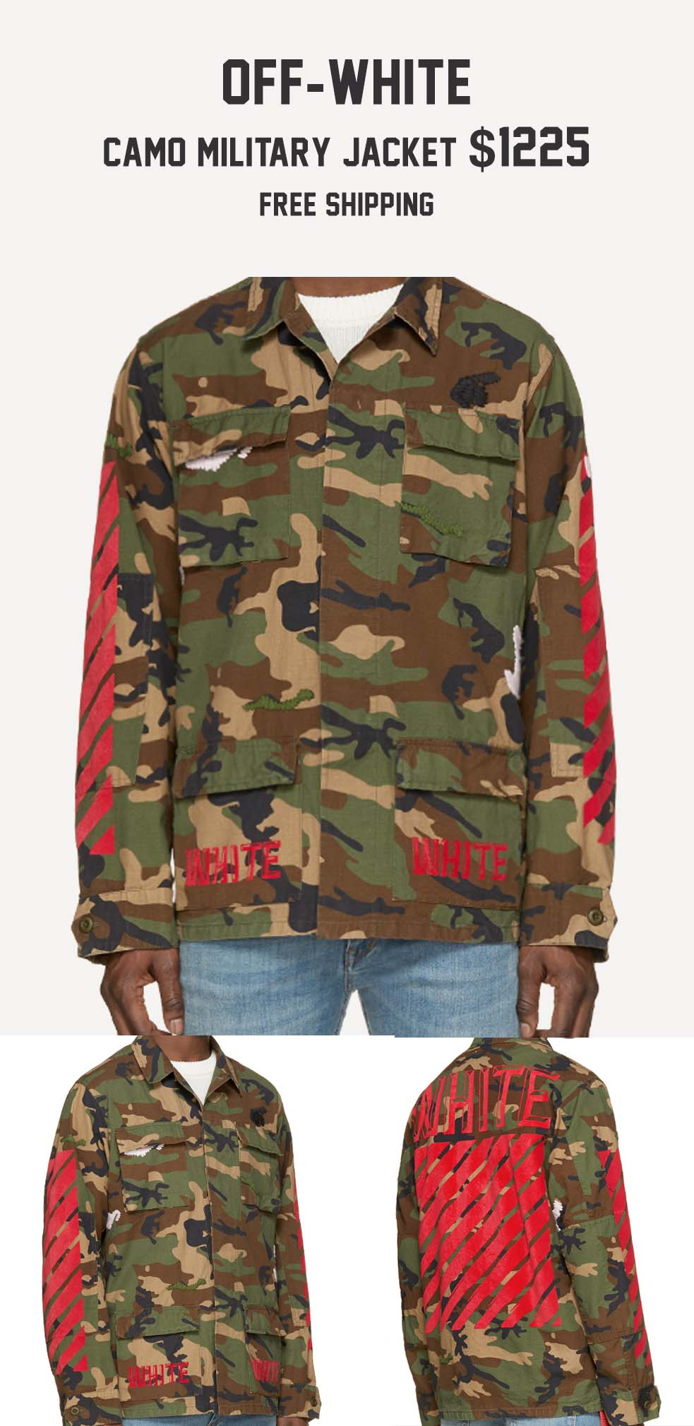 Stefan's Head - Fall Jackets Collection - Off White Camo Military Jacket