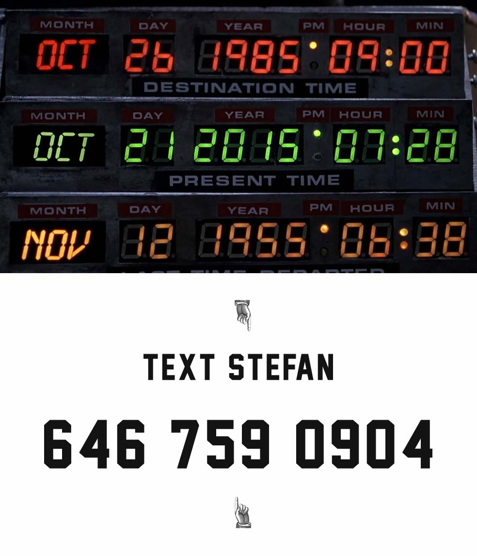 Stefan's Head - Text Stefan - Back to the Future Day