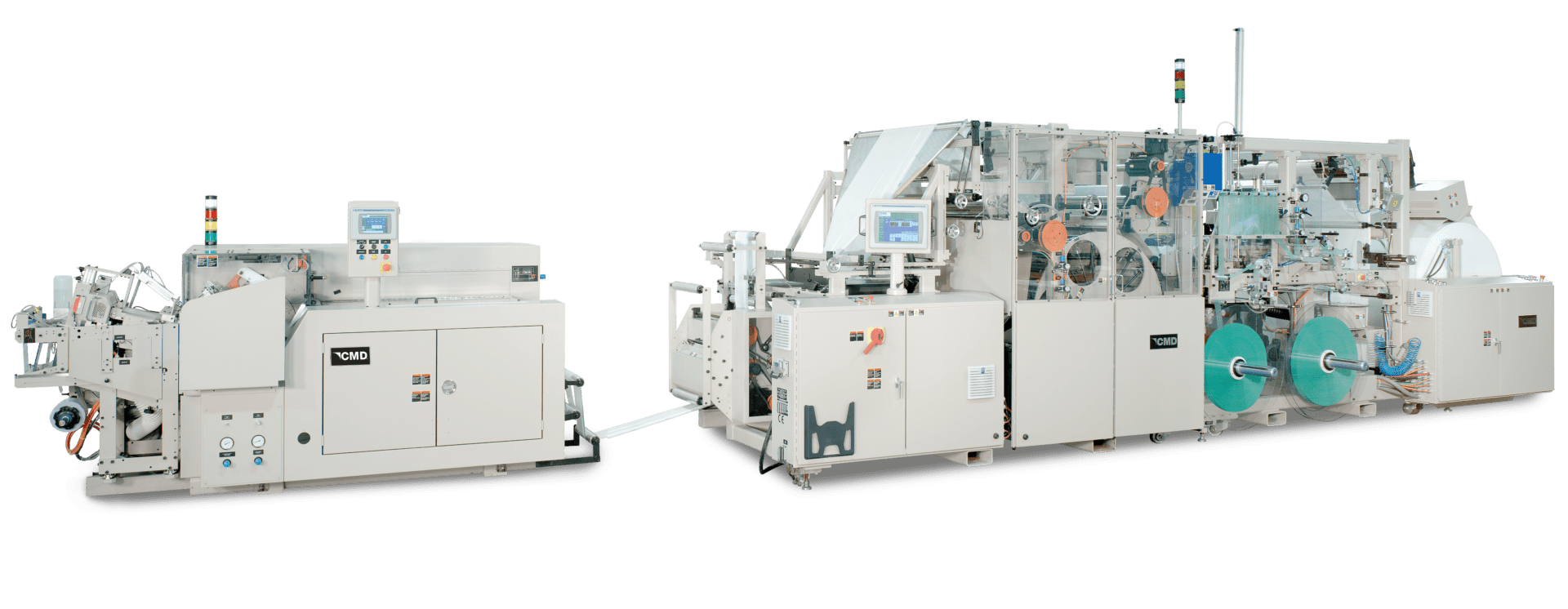 Global Overlap Bag Winder shown in line with the CMD Global Drawtape System