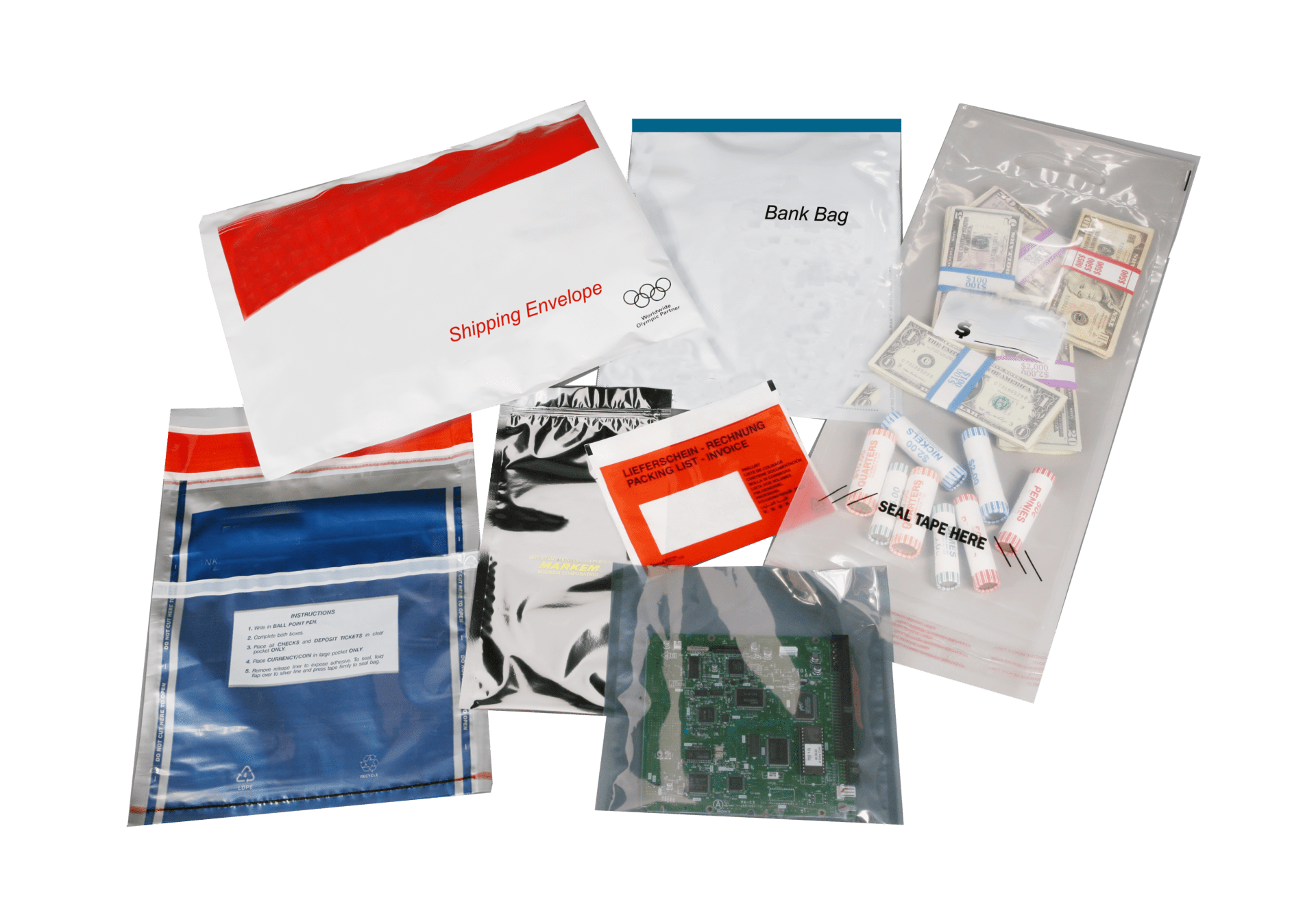 Security bags and envelopes examples