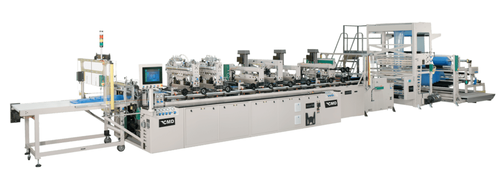 High efficiency machine for making custom pouches