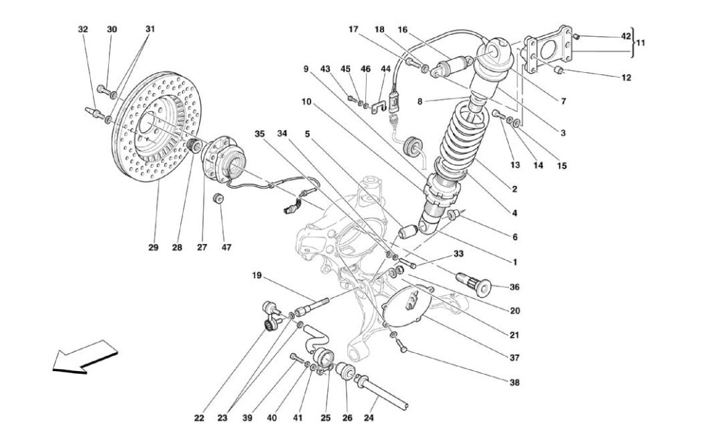 ferrari-360-modena-front-shock-absorber-and-brakes-parts-diagram