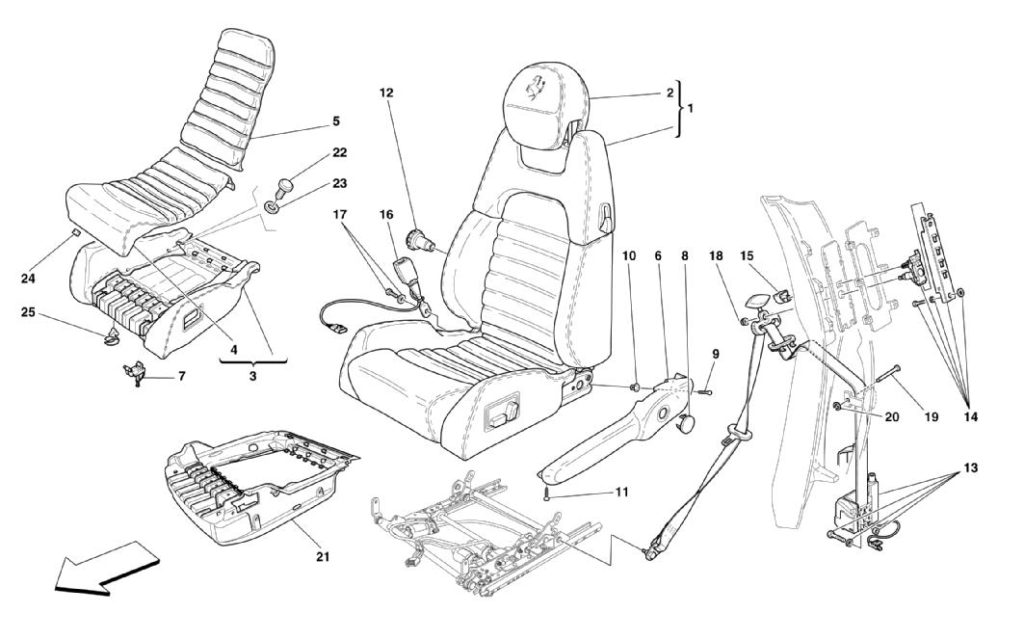 ferrari-360-modena-electric-seats-and-safety-belts-parts-diagram