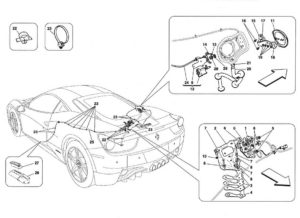 ferrari-458-engine-bonnet-gas-door-latch-parts-diagram