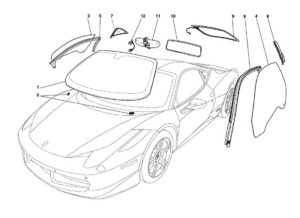 ferrari-458-italia-glass-gaskets-parts-diagram