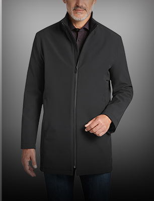 Black Modern Fit Raincoat