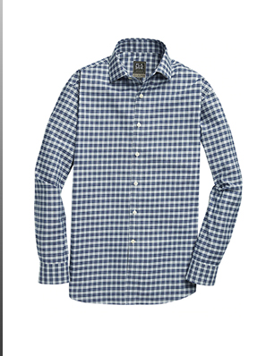 Travel Tech Tailored Fit Spread Collar Plaid Sport