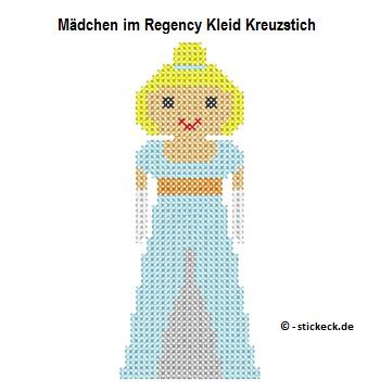 20170528 - Maedchen im Regency Kleid Kreuzstich - stickeck.de