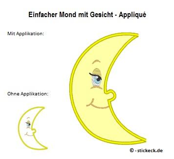 20170713 - Einfacher Mond mit Gesicht - Applique - stickeck.de