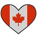 Gratis Stickdatei:Herzflagge Kanada