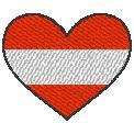Kostenlose Stickdatei:Herzflagge Österreich