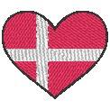 Gratis Stickdatei:Herzflagge Dänemark