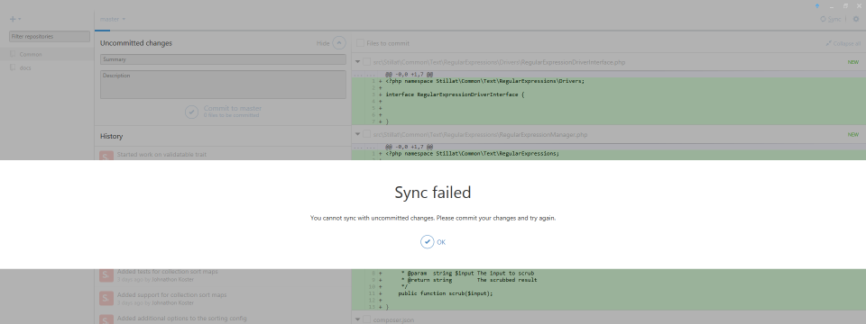 GitHub for Windows | Sync failed error message.