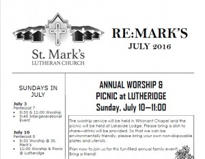 newsletter graphic st mark's lutheran church asheville nc