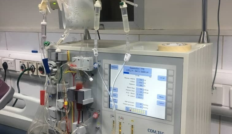 Therapeutic apheresis machine at St. Nicholas Hospital