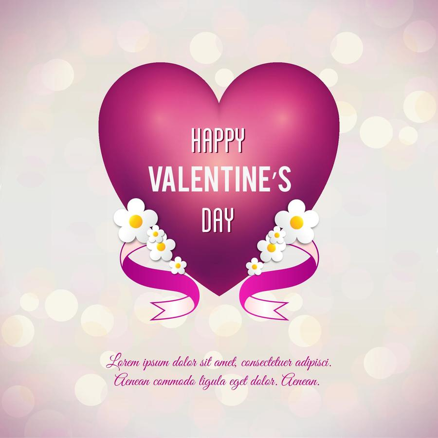 "Free vector ""Valentine's day vector illustration with heart, flowers and ribbon"""