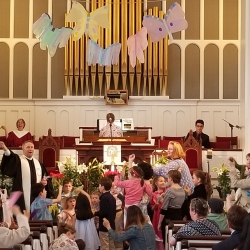 A full congregation celebrating Easter