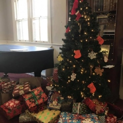 A Christmas tree surrounded by gifts for needy children