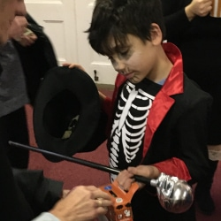 A boy dressed as a skeleton