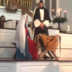 Mary and Joseph at the manger
