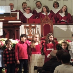 A children's choir singing