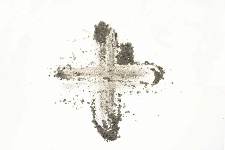 Ashes smudged in the shape of a cross