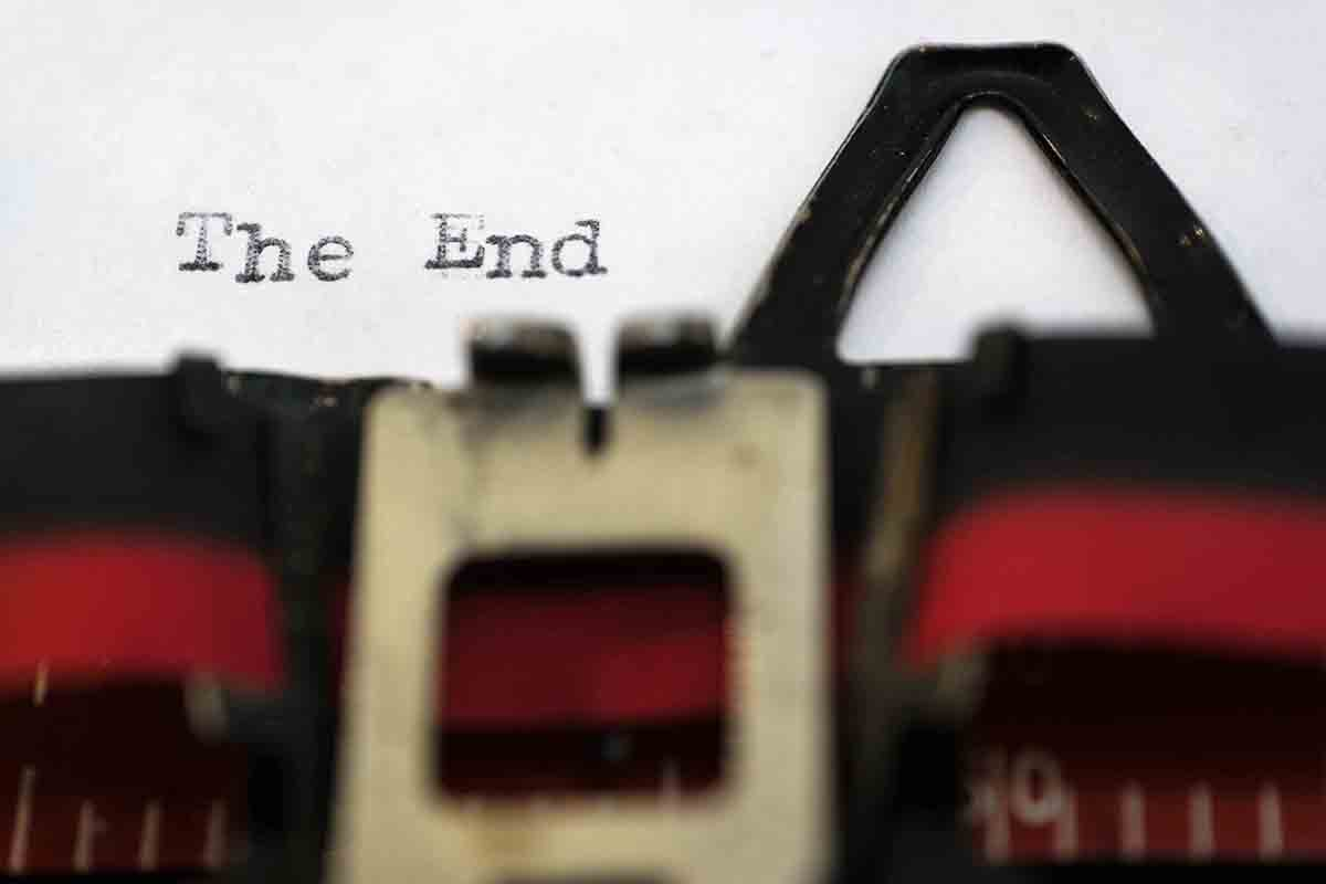 Free stock photo Typewriter typing the end on paper