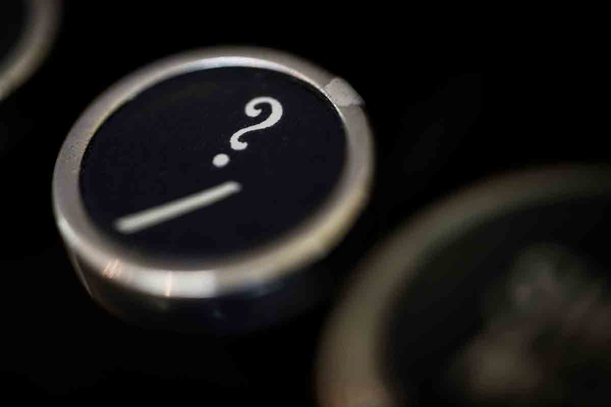 Free stock photo Close-up of question mark on typewriter key