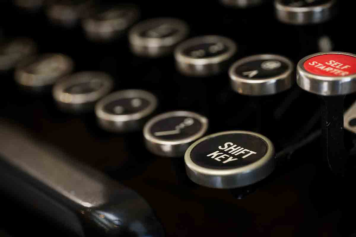 Free stock photo Close-up of shift key on typewriter