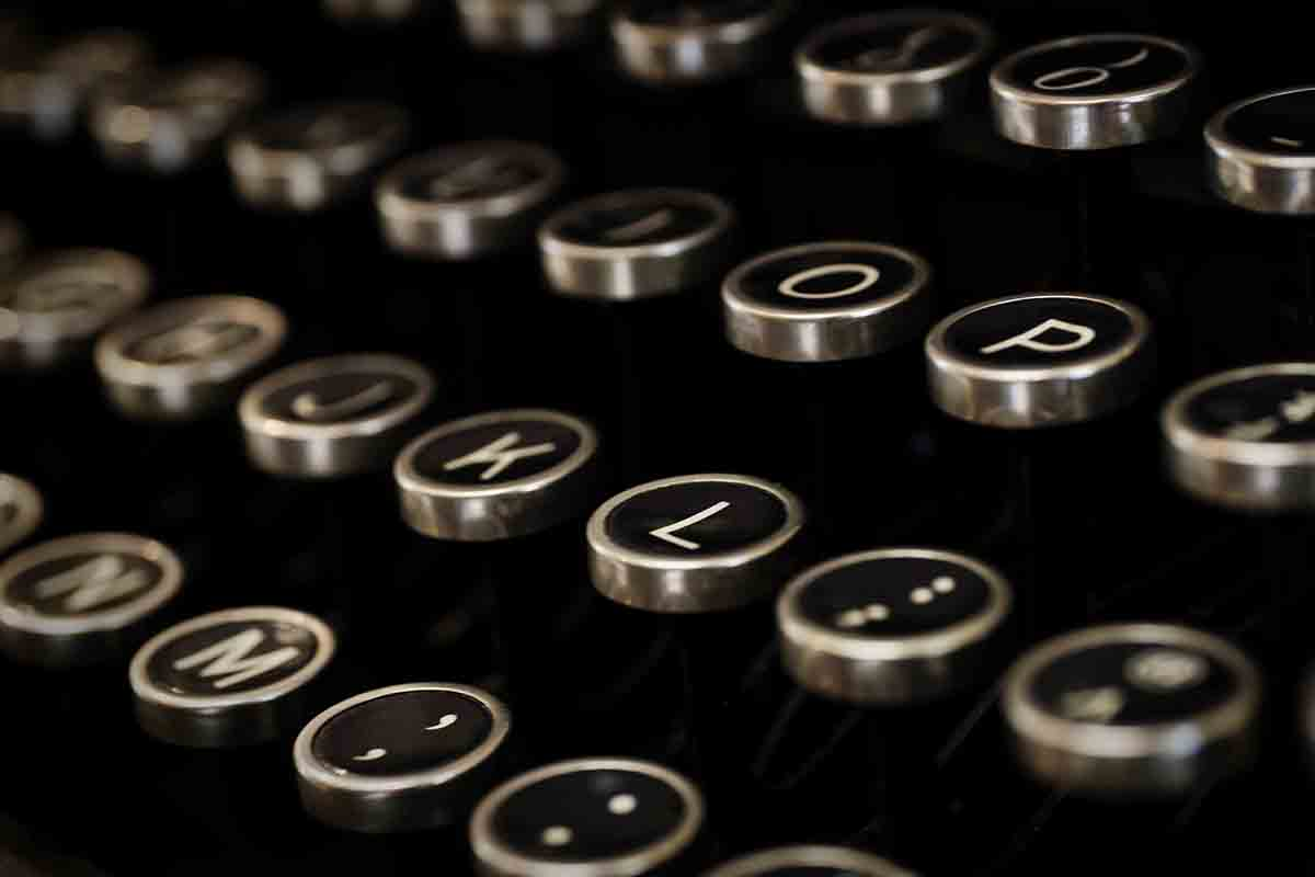 Free stock photo Close-up of alphabets on typewriter keys