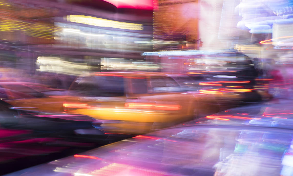 Free stock photo Blurred motion of traffic in city at night