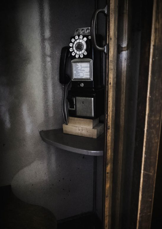 Free stock photo Old-fashioned telephone in booth