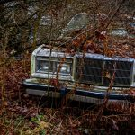 Free stock photo Abandoned vintage car covered with dry plants