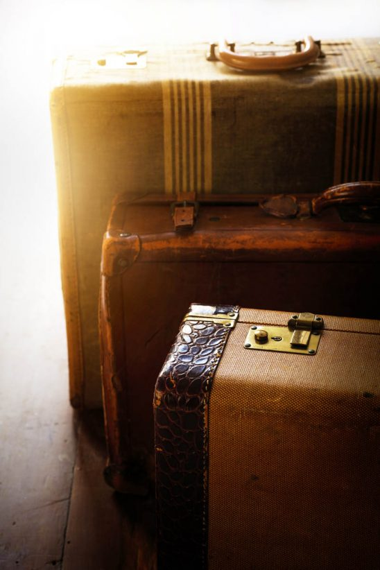 Free stock photo High angle view of three retro suitcases