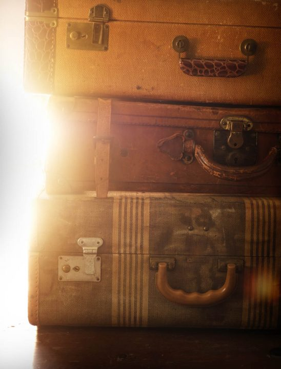 Free stock photo Close-up of stacked retro suitcases