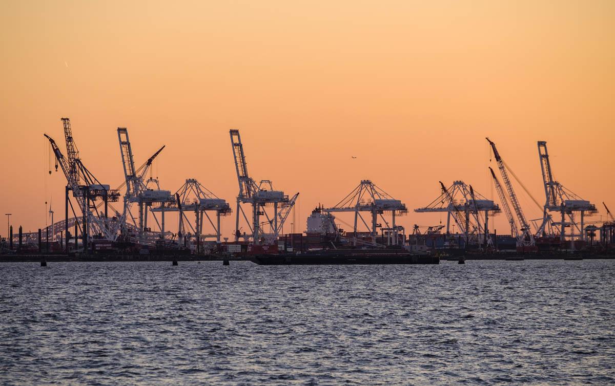 Free stock photo Industrial cranes at harbor against orange sky