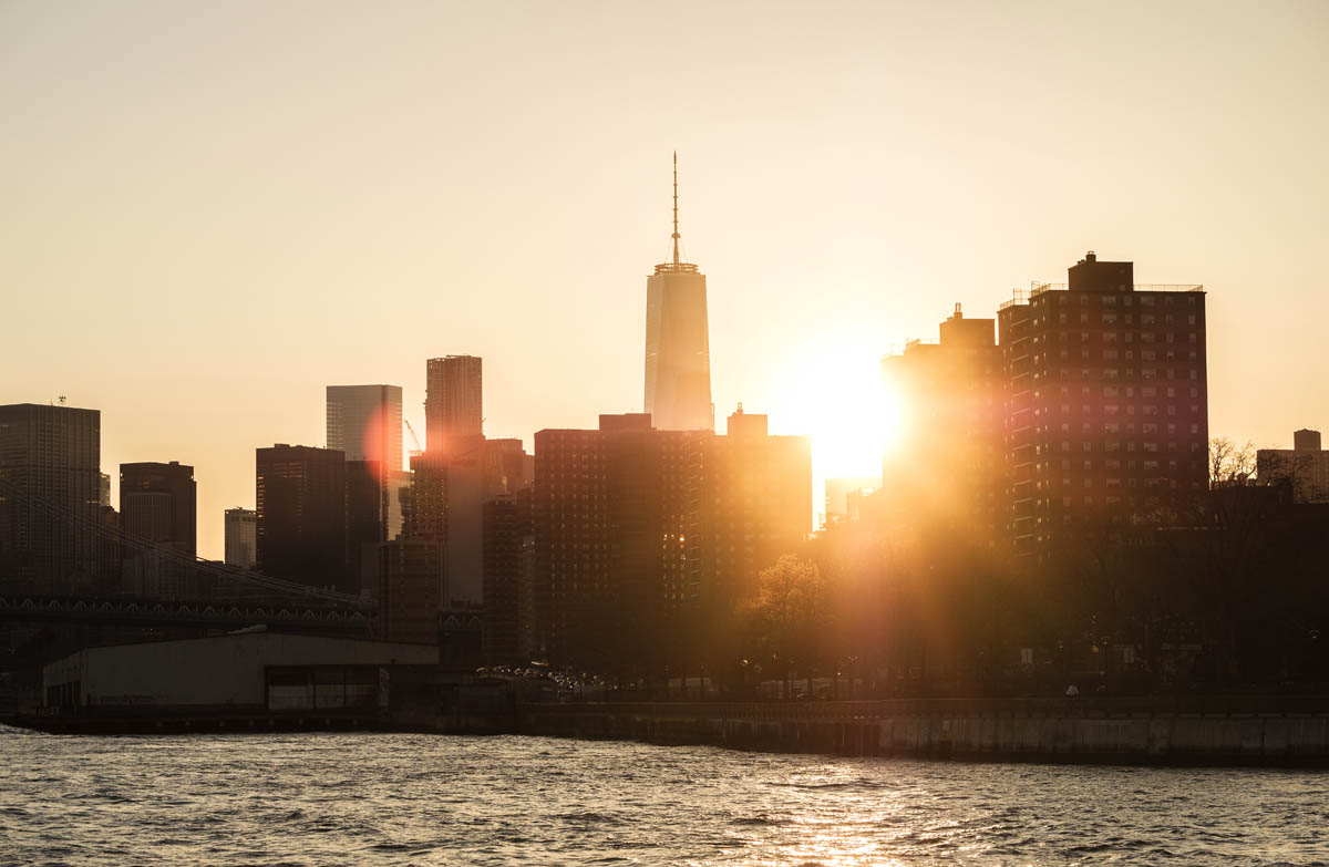 Free stock photo View of New Yort by East River against sky during sunset