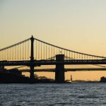 Free stock photo Brooklyn bridge and manhattan bridge over the East River against clear sky during sunset
