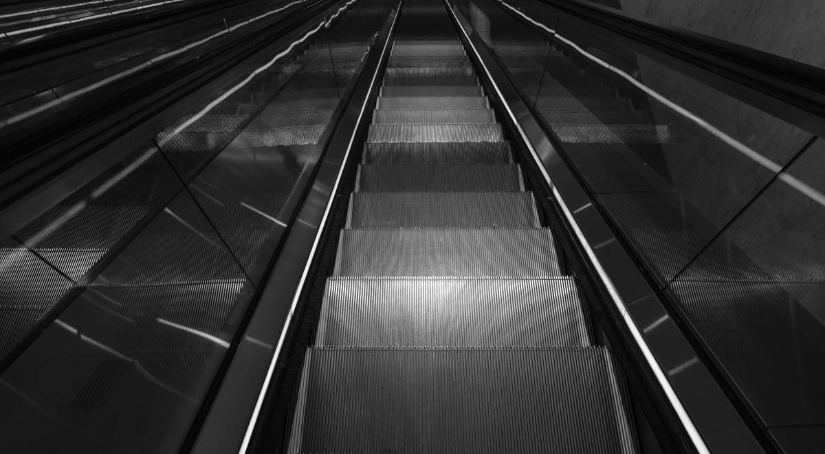 Free stock photo High angle view of escalator