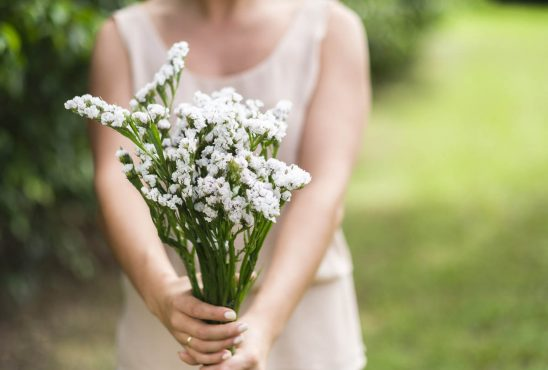 Free stock photo Midsection of woman holding white flowers outdoors