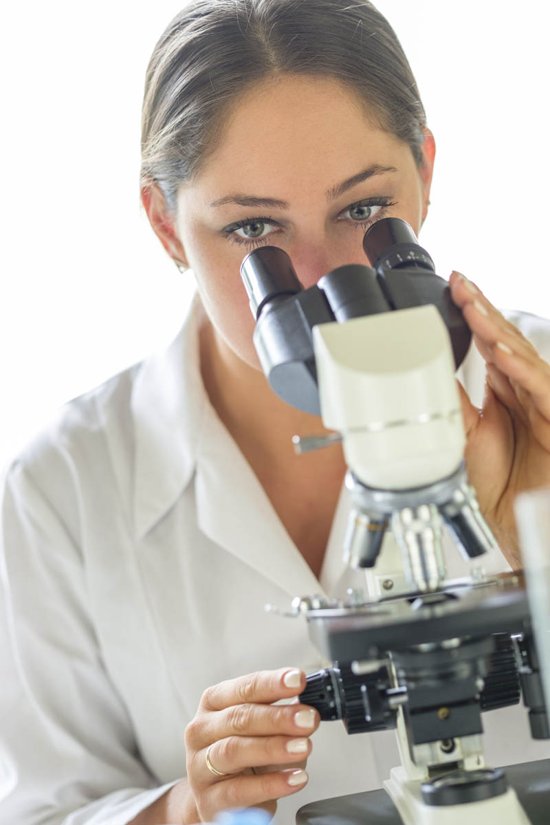Free stock photo Close-up of female scientist using microscope in laboratory