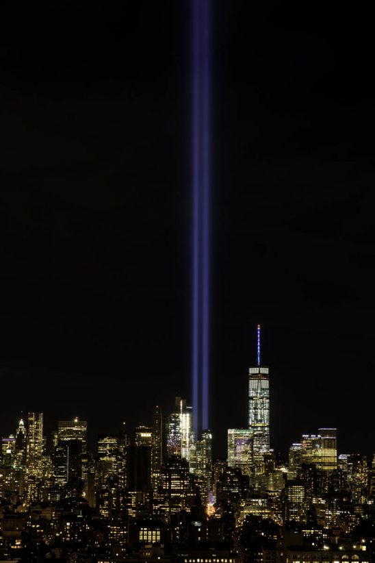 Free stock photo Laser light show in New York for 911 against sky at night