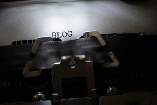 Free stock photo Typewriter printing blog text on paper