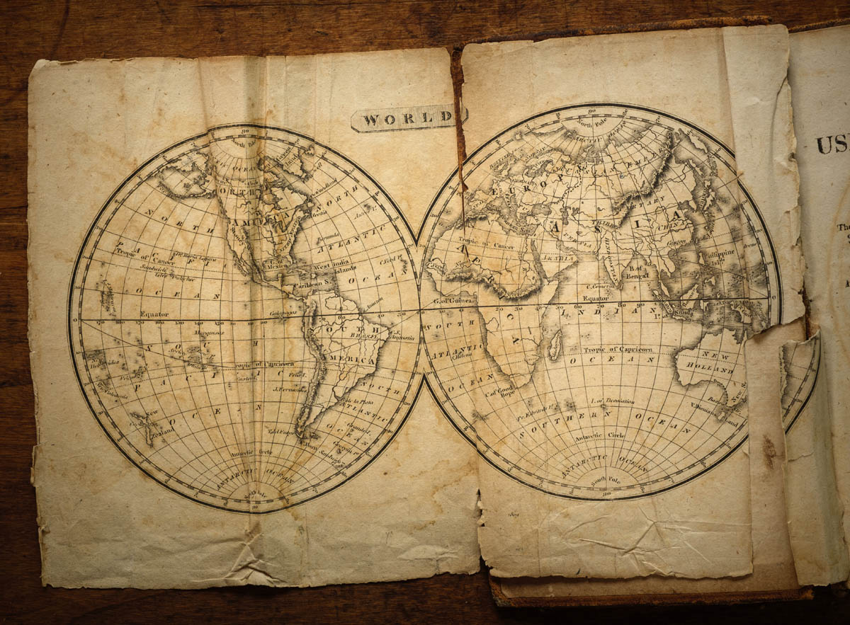 Free stock photo Close-up of world map on table