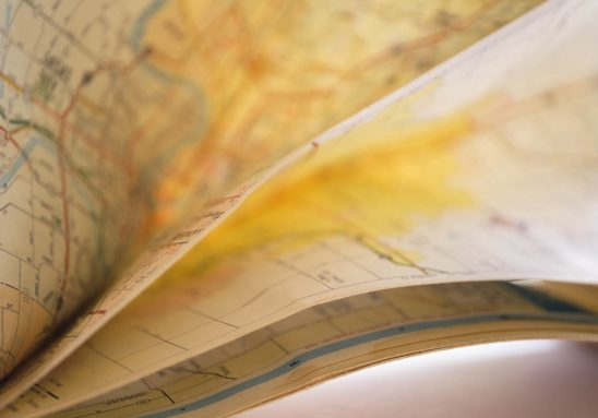 Free stock photo Close-up of folded road map