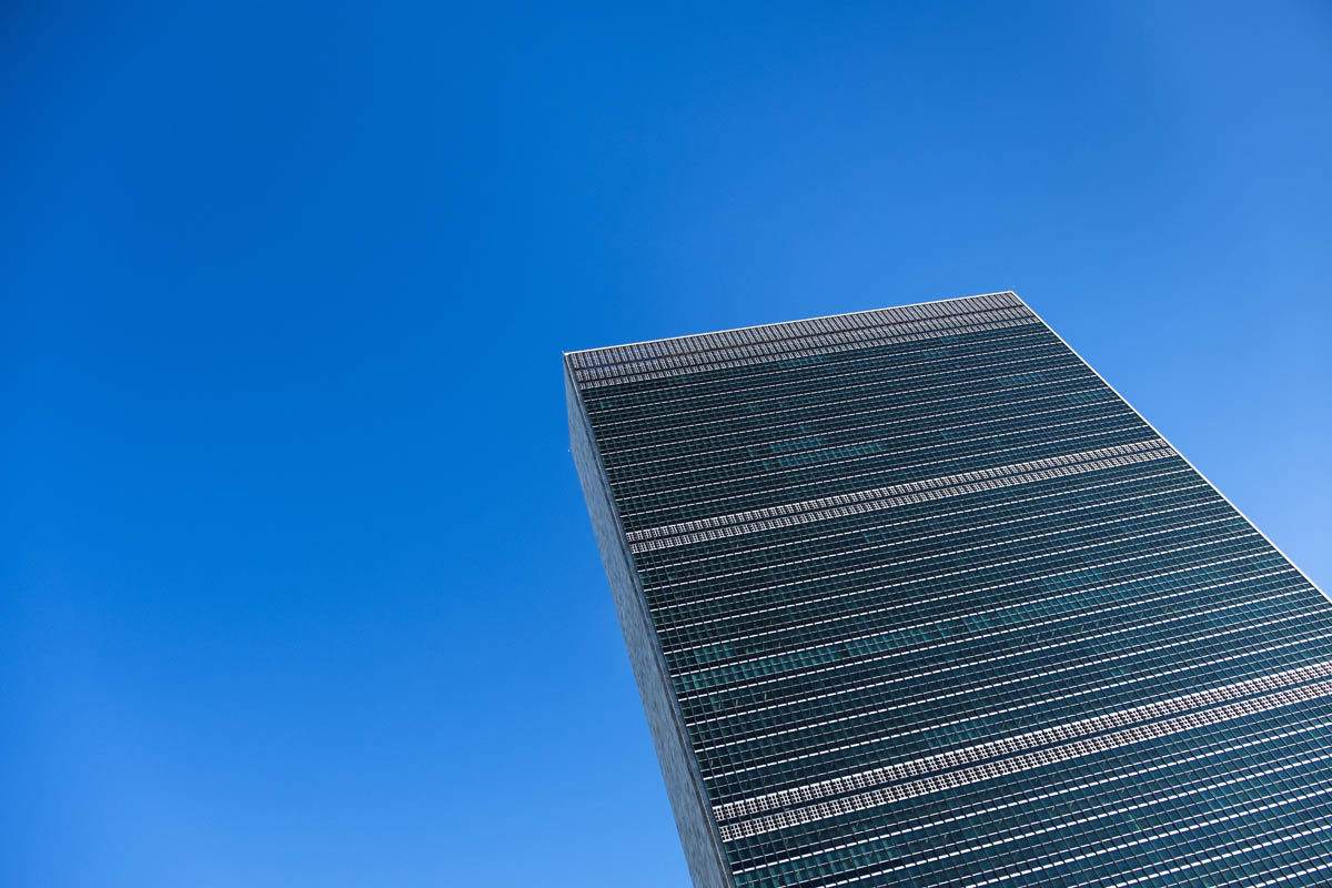 Free stock photo Headquarters of the united nations against clear blue sky