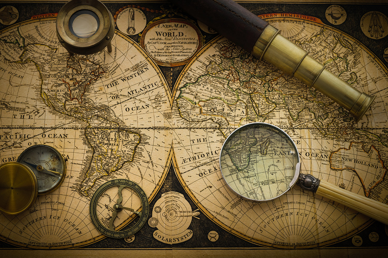 Free stock photo Antique world map with telescope, compass and magnifier
