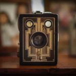 Free stock photo Close-up of old-fashioned camera on table